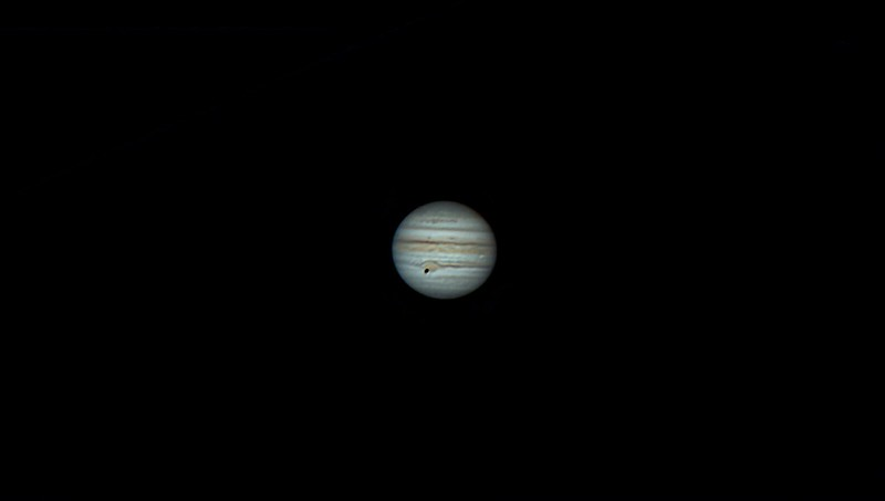Jupiter and Callisto (transit in front of Jupiter, near Great red spot) and Io (transit in front of Jupiter, bright spot near right edge) (from left to right) (30.07.2021)
