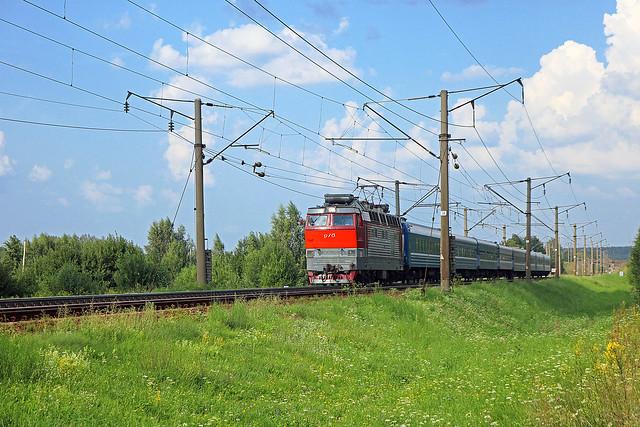 Электровоз ЧС4Т-382 на перегоне путевой пост Городнянский /Орша-Центральная.
