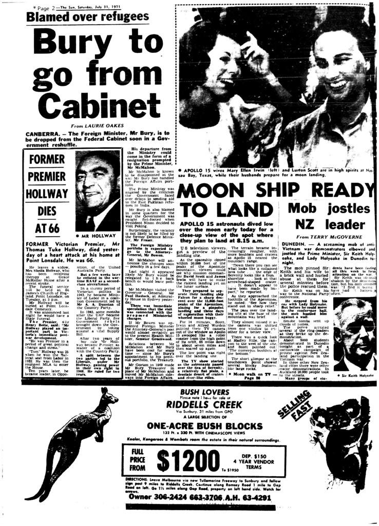 The Melbourne Sun- July 31, 1971- Page 2- Apollo 15 Moon Landing
