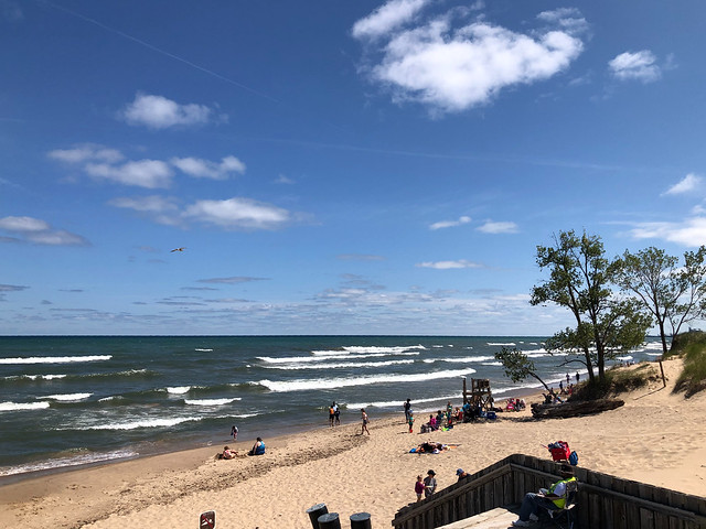 Waves on Lake Michigan, sky at West Beach, Indiana Dunes National Park