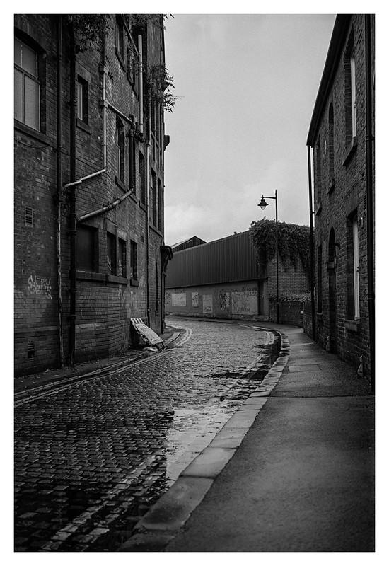 Rainy-day cobbled streets
