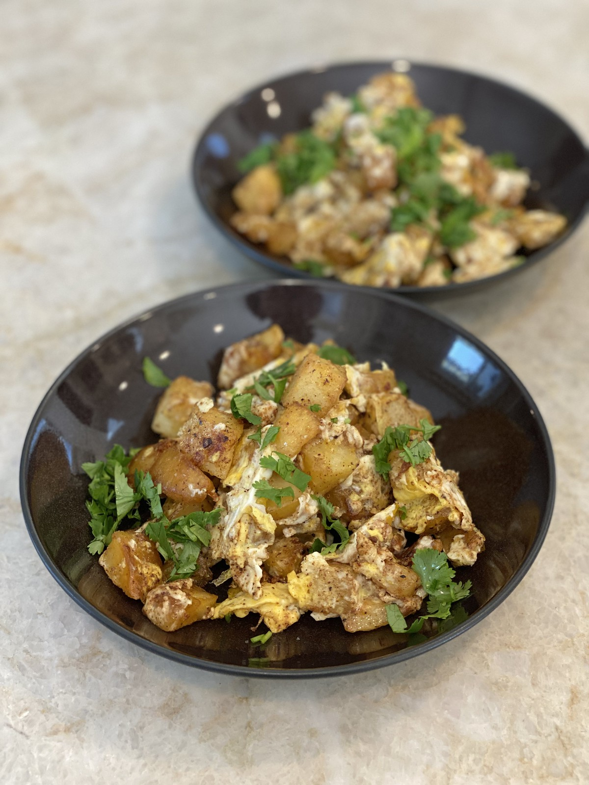 Palestinian potatoes with spiced eggs