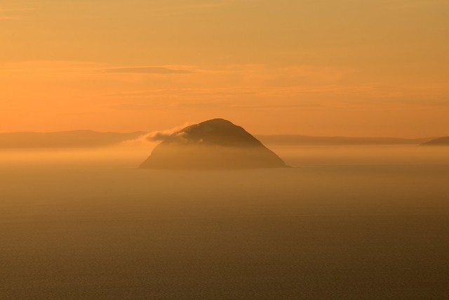 Ailsa Craig and the Firth of Clyde at sunset