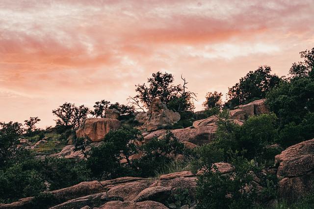 sunset over the rocky landscape