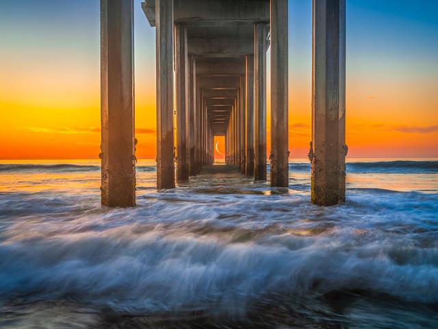 To the Moon: Crescent Moon Scripps Pier Sunset Fuji GFX 100 La Jolla Beach San Diego Ocean Art Seascape Photography! Dr. Elliot McGucken Master Medium Format Fine Art Landscape Nature Photography Fujifilm GFX100 & Fujinon Lens!