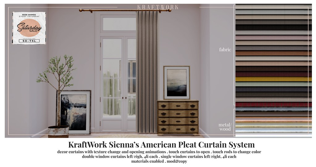 KraftWork Sienna's American Pleat Curtain System for The Saturday Sale