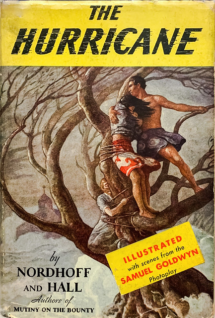 """""""The Hurricane"""" by Charles Nordhoff and James Hall. New York: Burt/Blue Ribbon Books, (1936). First Photoplay edition. Dustcover art by N. C. Wyeth"""
