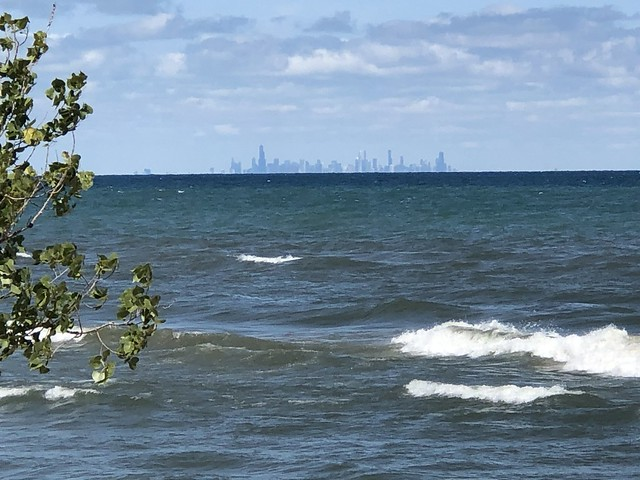 View across Lake Michigan to Chicago skyline, West Beach, Indiana Dunes National Park