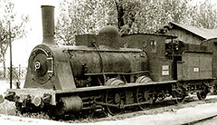 Locomotora. en Avila. Modelo M.Z.A., perteneciente a la Compañía de los Caminos de Hierro del Norte de España., h. 1865.- Arch. Spanishrailway.