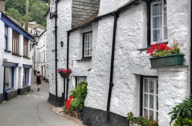 Narrow streets of Polperro, Cornwall