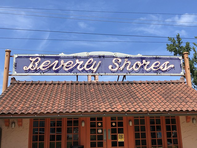 Vintage neon sign, South Shore Line railroad station, Beverly Shores, Indiana