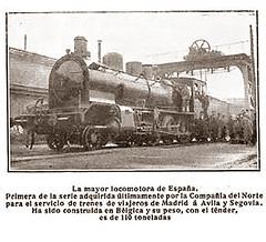 La mayor locomotora de España. 1909. Hoja de revista sin identificación. FERROCARRIL COMPAÑÍA DEL NORTE. VIAJEROS DE MADRID A ÁVILA Y SEGOVIA. Archivo Jose Luis Pajares