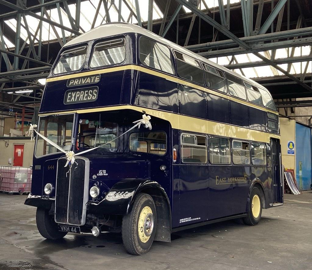 East Yorkshire   644 (VKH 44) Preserved, ex East Yorkshire AEC Regent V / Willowbrook.
