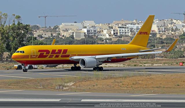 N399AN (G-DHLC) LMML 30-07-2021 DHL (European Air Transport)  Boeing 767-323(ER) CN 29606