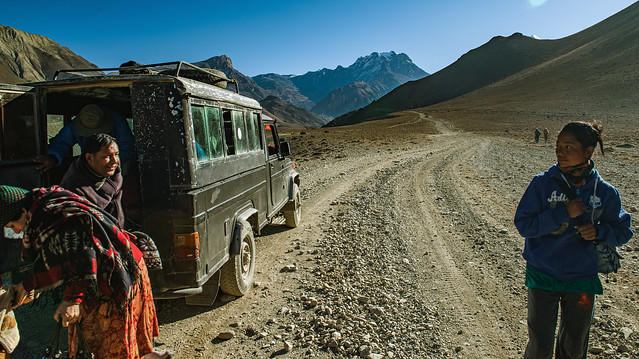 Brief encounter. Rest stop on the road to Muktinath, Mustang, Nepal.