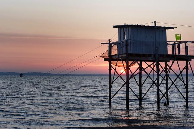 Fishing hut sunrise