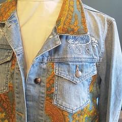 Vintage Paisley Fabric Denim Jacket