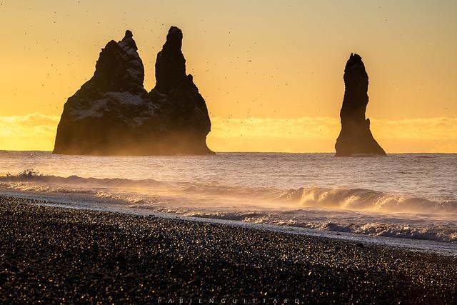 Golden Reynisdrangar, Iceland