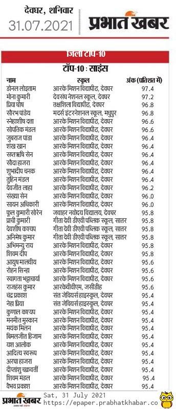 Prabhat Khabar - AISSCE - 31.07.2021