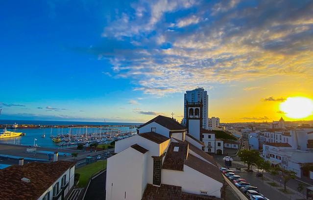 Ponta Delgada sunset panorama