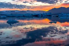Midnight sunset, glacier lagoon