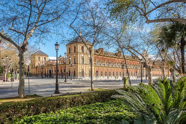 Palacio de San Telmo. Desde los jardines de Cristina. Sevilla. España