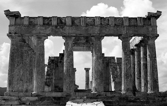 Temple of Aphaia, dates to about. 500 BC, island of  Aegina, Greece (Saronic Gulf)  Mar 1974