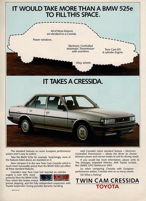 1985 Toyota Cressida Sedan Aussie Original Magazine Advertisement