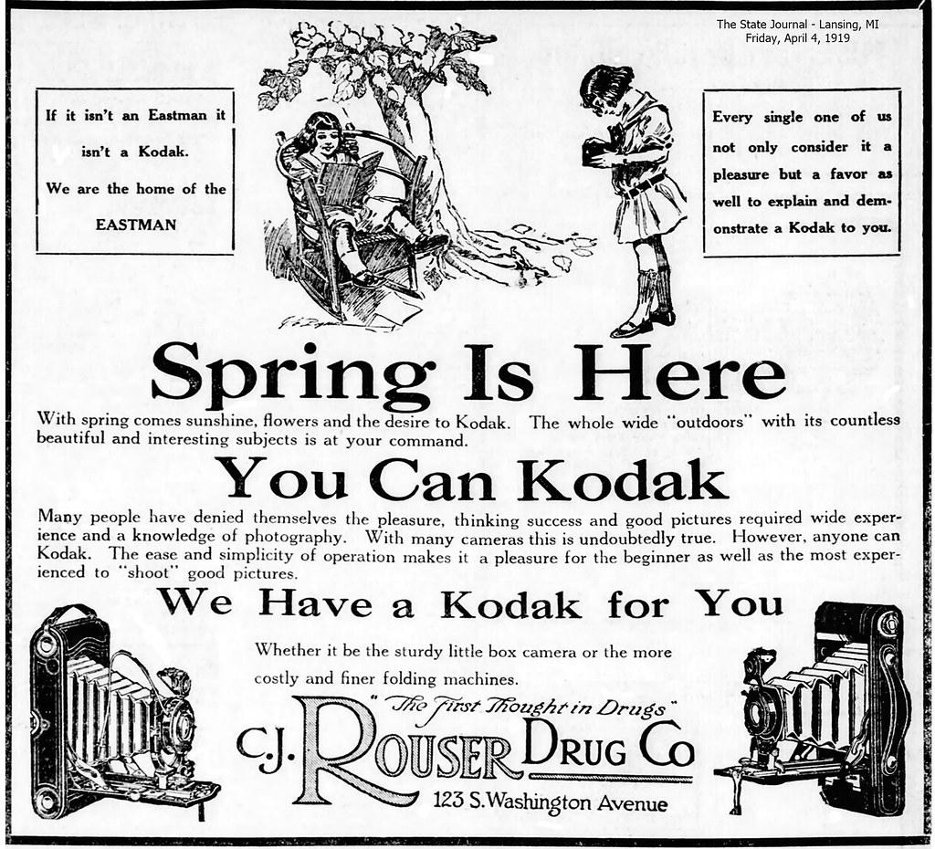 Rouser Drug Co.-123 S. Washington Ave.-Kodak cameras-Eastman-1919-04-04-Lansing, MI
