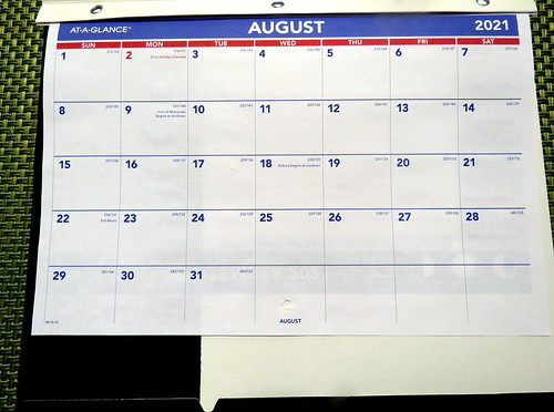 August 2021 Diary