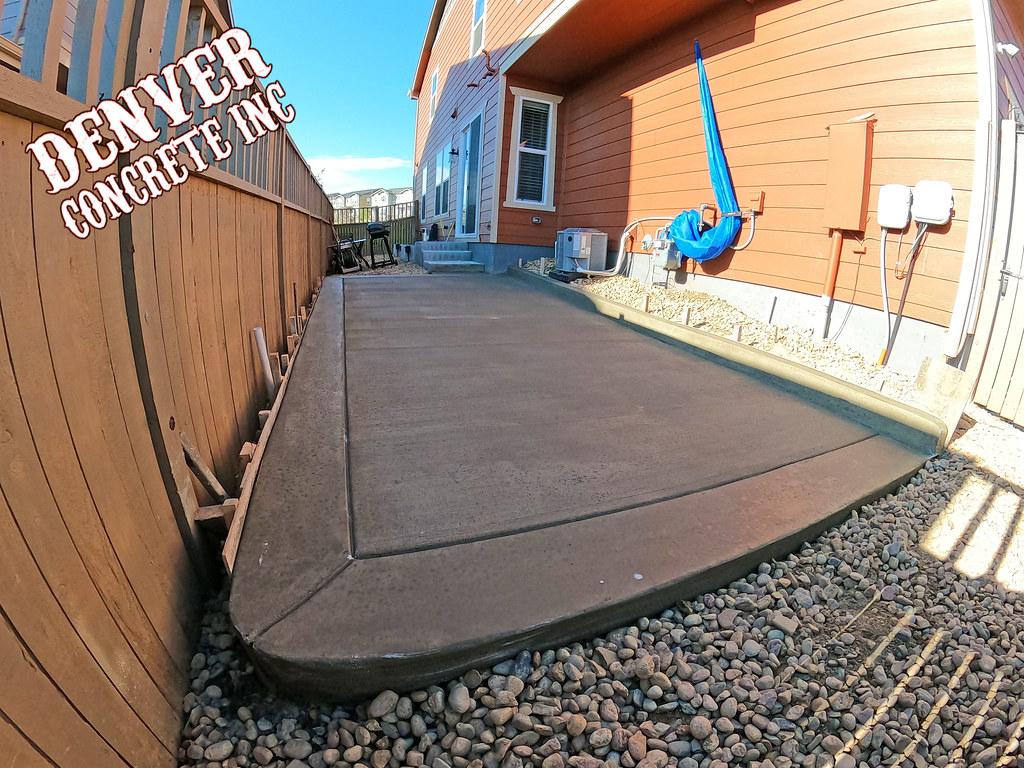 Castle Rock concrete back patio and hot tub installation