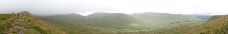 Pen y Fan (886 m), Cribyn (795 m) and Fan y Bîg (716 m) from the ridge
