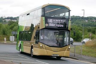 Go North East Wright Streetdeck Wright Streetdeck Micro-Hybrid 3 NK20EMJ 6359, in X Lines X45, X46, X47 livery, operating service X46 to Eldon Square at the Metrocentre Interchange, Gateshead, on 25 July 2021.