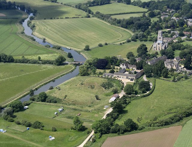 Aerial image - Fotheringhay or Fotheringay Castle earthworks - Norman motte and bailey castle in Northamptonshire