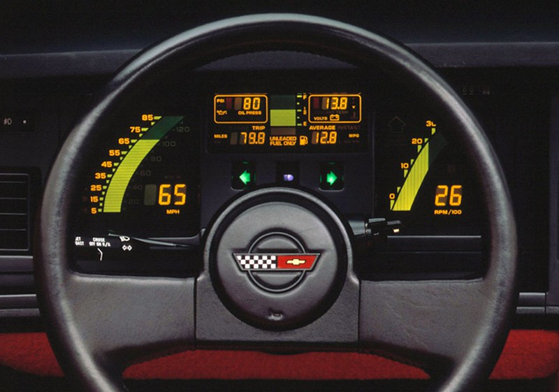 In keeping with its colorful pinball-like instrument cluster, Gen Four wheels had an ultra modern look with only two spokes. The new C4 crossed flags logo sat front and center. Later models included air bags.