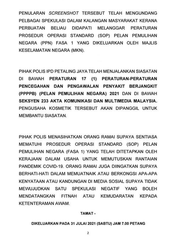 Usahawan Kosmetik Akan Dipanggil Polis, Buat Ig Live Sambil Makan Durian Berjemaah