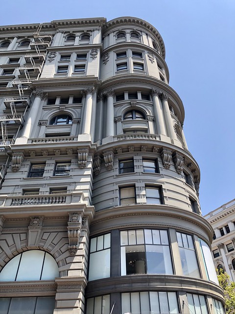 The Flood Building, built in 1904 at the corner of Powell Street and Market Street. 12 stories, architect Albert Pissis.