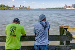 Unhappy fishermen on the Hudson River - zero catches for the day. They normally catch Stripped Bass, among others.