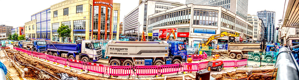 Five Lorries Too Clear the Rubble from the Tramway in Bull St and Corporation  St