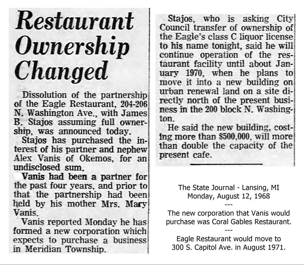 Eagle Restaurant-full ownership-James B. Stajos-from nephew Alex Vanis-1968-08-12-Lansing, MI