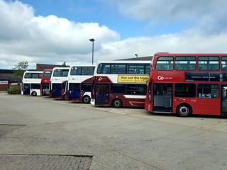 Go North East Wright Gemini B7TLs and B9TLs fleet line ups at Consett Bus Station