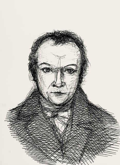 William Blake, 1757-1827. English Poet, painter,and printmaker. Sketch portrait in Ballpoint pen only, by jmsw on card.