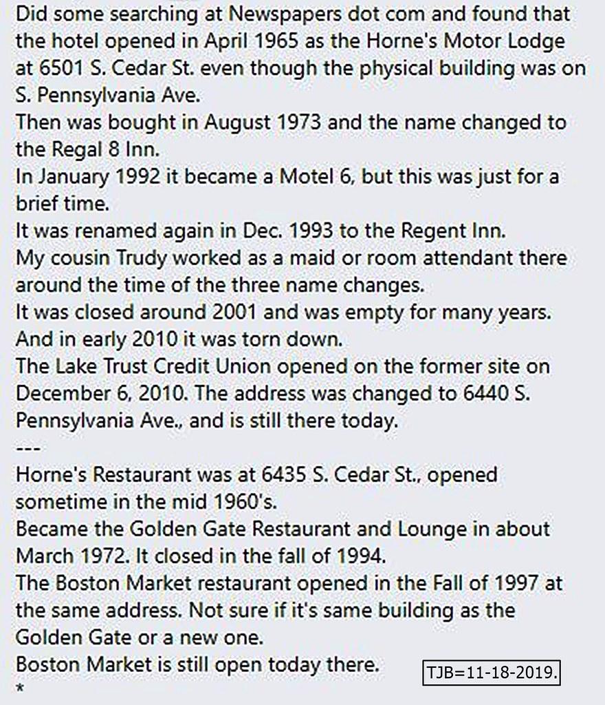 Horne's Motor Lodge-Regent Inn-etc.-history-restaurant-6501 S. Cedar St.-2019-11-18-Lansing, MI