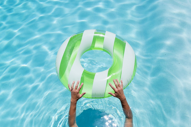 Bright Ring Float in a Clear Pool