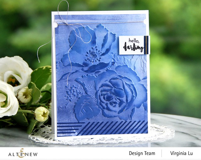Altenew-Rose Boiuquet 3D Embossing Folder-Woven Stripes Stamp Set-Glacier Cave Mixed Media Ink Bundle-001