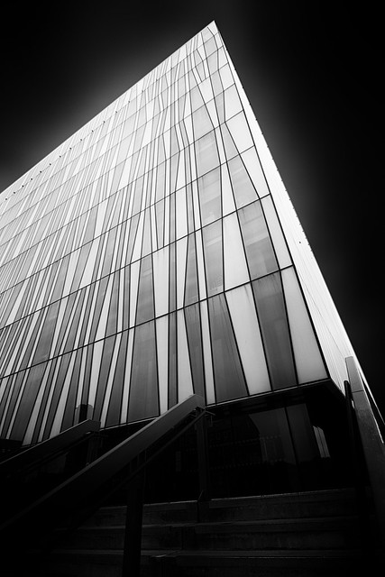 take the steps up into the light of learning. Sir Duncan Rice Library, University of Aberdeen, Aberdeen, Scotland. Fine art B&W long exposure.
