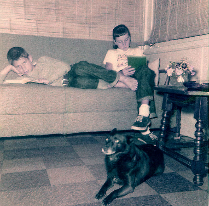 GL cousin Maureen Blackie at cabin at Erskine Lakes in New Jersey ca 1959