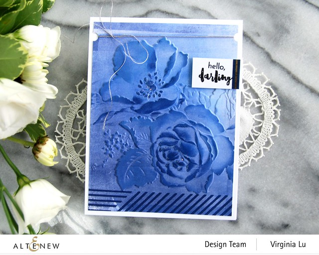 Altenew-Rose Boiuquet 3D Embossing Folder-Woven Stripes Stamp Set-Glacier Cave Mixed Media Ink Bundle-003