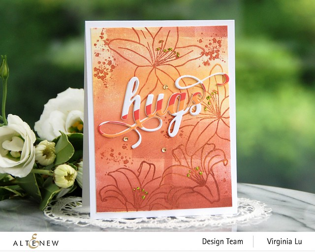 AltenewInky Lily Stamp Set-Summer Afternoon Mixed Media Ink Bundle-Fancy Hugs Die Set-Red Sunset Slim Washi Tape