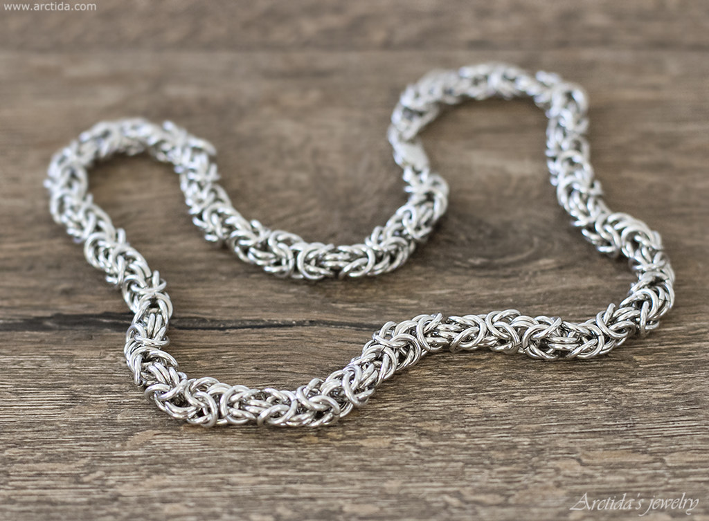 Mens necklace heavy Byzantine chain necklace in sterling silver. Mens jewelry by Arctida